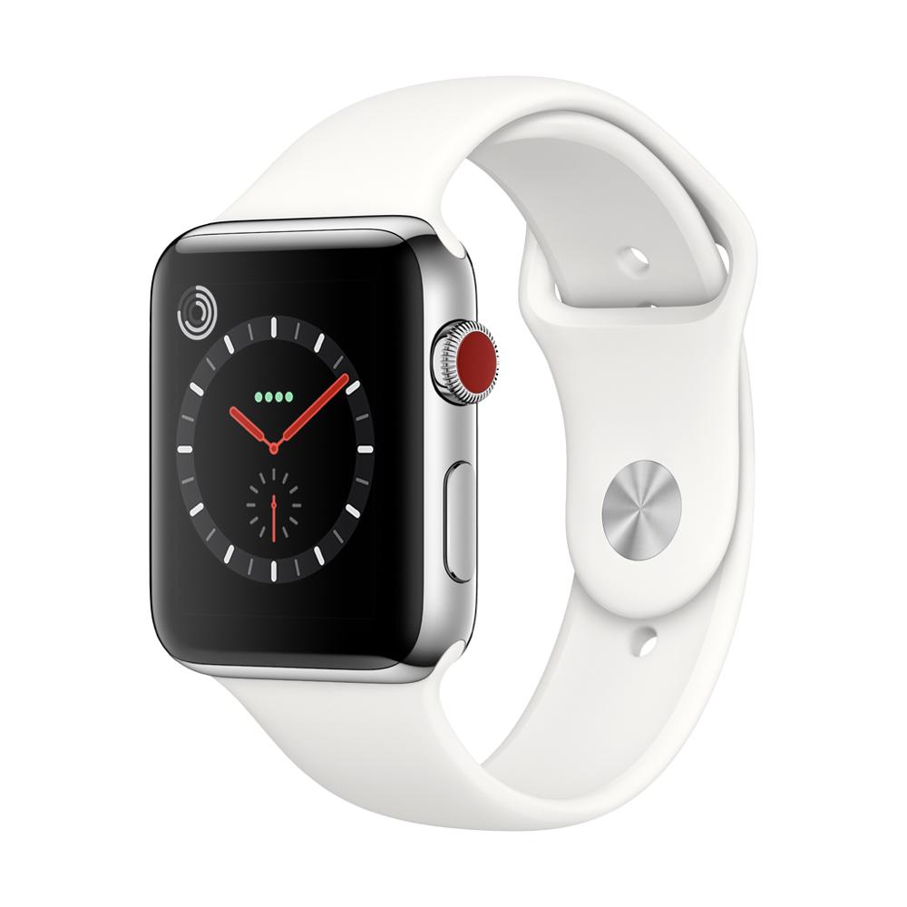 Apple Watch Series3 GPS+Cell 42mm 스테인리스 스틸 케이스와 소프트 화이트 스포츠 밴드 MQLY2KH/A