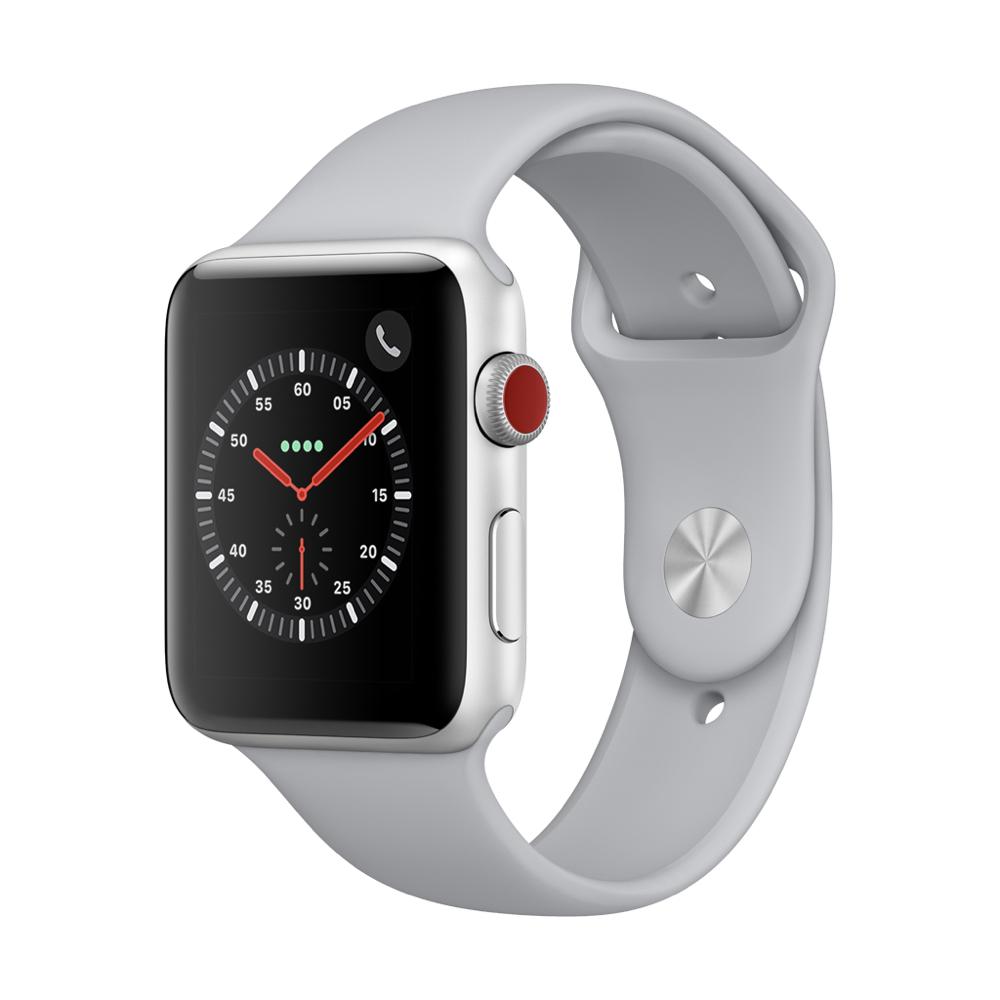 Apple Watch Series3 GPS+Cell 42mm 실버 알루미늄 케이스와 포그 스포츠 밴드 MQKM2KH/A