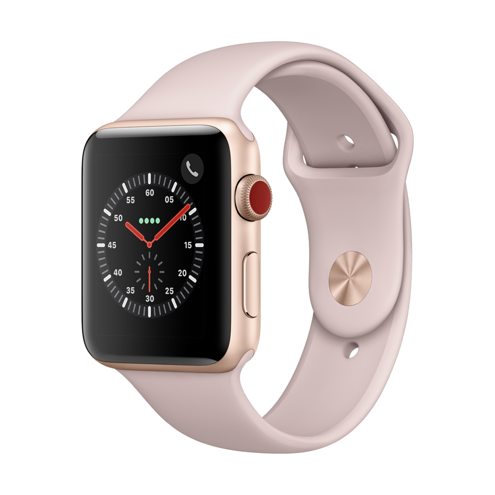 Apple Watch Series3 GPS+Cell 42mm 골드 알루미늄 케이스와 핑크샌드 스포츠 밴드 MQKP2KH/A