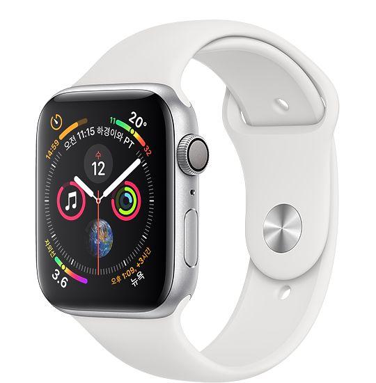 Apple Watch Series4 GPS 44mm 실버 알루미늄 케이스와 화이트 스포츠 밴드 MU6A2KH/A