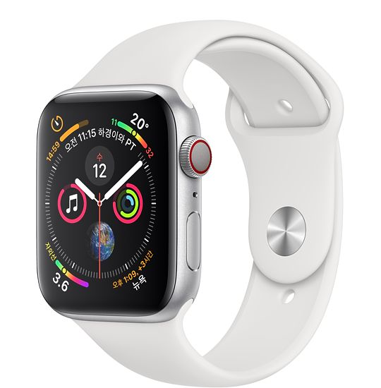 Apple Watch Series4 GPS+Cell 44mm 실버 알루미늄 케이스와 화이트 스포츠 밴드 MTVR2KH/A