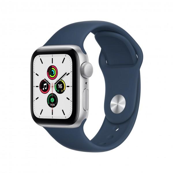 Apple Watch Series SE GPS 40mm 실버 알루미늄 케이스와 어비스 블루 스포츠밴드 MKNY3KH/A