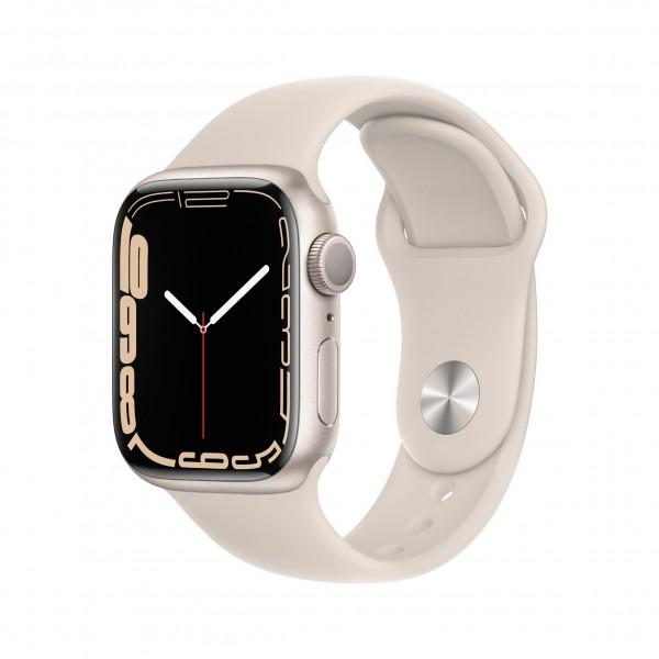 Apple Watch Series 7 GPS 41mm 스타라이트 알루미늄 케이스와 스타라이트 스포츠 밴드 MKMY3KH/A