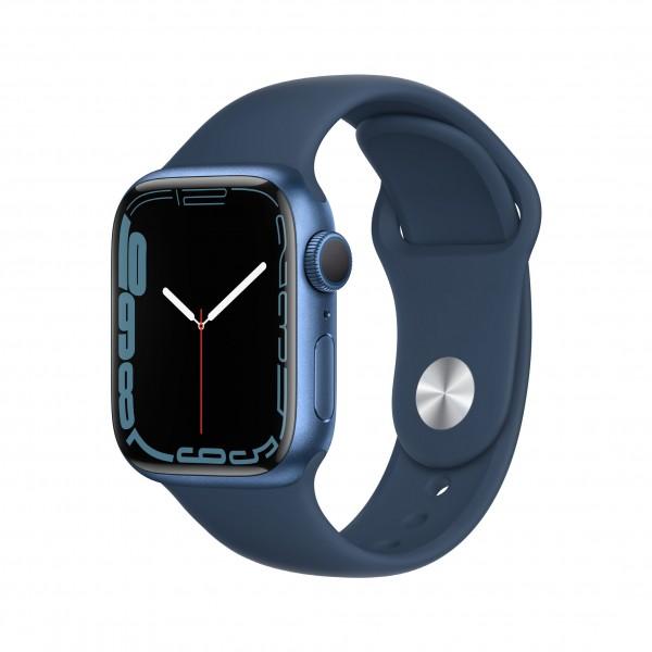 Apple Watch Series 7 GPS 41mm 블루 알루미늄 케이스와 어비스 블루 스포츠 밴드 MKN13KH/A