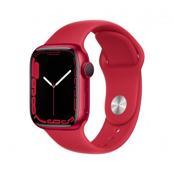 Apple Watch Series 7 GPS 41mm 레드 알루미늄 케이스와 레드 스포츠 밴드 MKN23KH/A